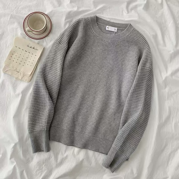 Waffle Knit Pullover