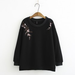 LM+ Floral Embroidered Pullover