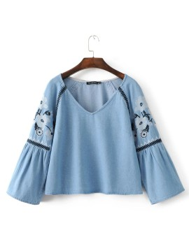 Embroidery Denim Blouse