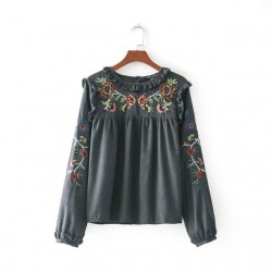 Embroidered Frill Blouse