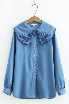 LM+ Embroidery Denim Shirt