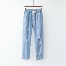Cut-out Denim Pants