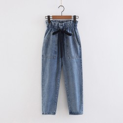 Denim Pants with Ruched Waist