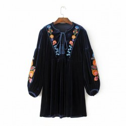 Embroidery Velvet Dress