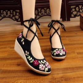 Lace-up Floral Wedges