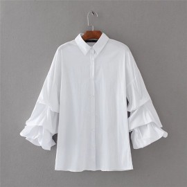 Shirt with Ruched Sleeves