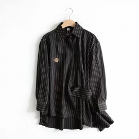 Pinstripe Blouse with Button Detail