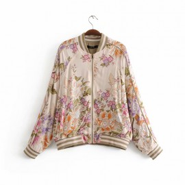 Floral Zipper Jacket