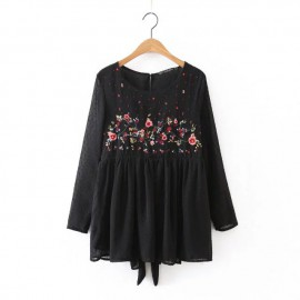 Embroidery Blouse with Open Back