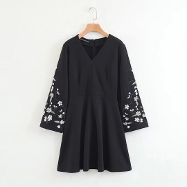 Floral Embroidered Sleeve Dress
