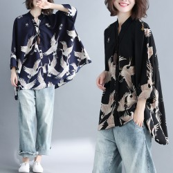 MIRA Bird Motif Shirt (Blue)