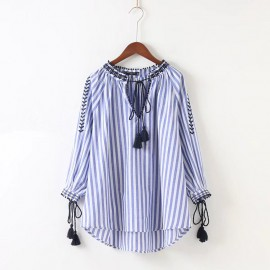 Stripe Blouse with Drawstring