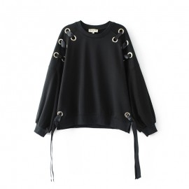 Sweater with Eyelet Detail
