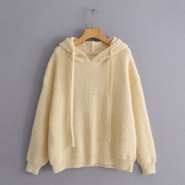 Oversize Hooded Knit Pullover
