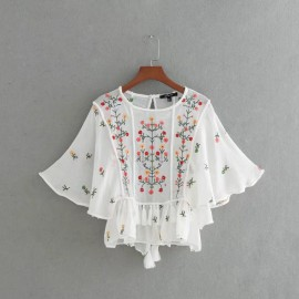 Embroidered Sheer Blouse