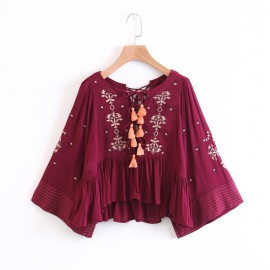 Lace Up  Embroidered Blouse