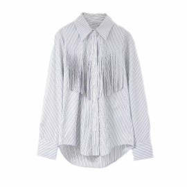 Stripe Shirt with Tassel