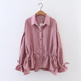 Corduroy Shirt with Drawstring