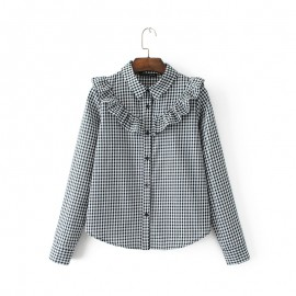 Gingham Ruffle Shirt