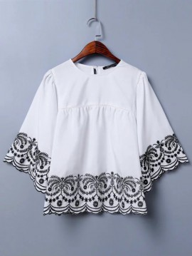Embroidery Flare Top