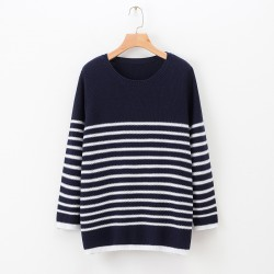 LM+Stripe Knit Pullover