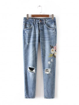Distressed Floral Embroidered Jeans