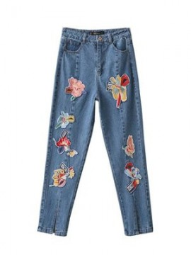 Floral Embroidered Jeans with Slit