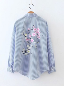 Stripe Shirt with Floral Print