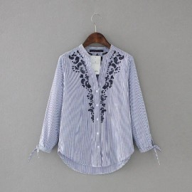 Embroidered Motif Shirt with Cut-out Hole