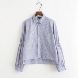 Stripe Shirt with Ruched Sleeves