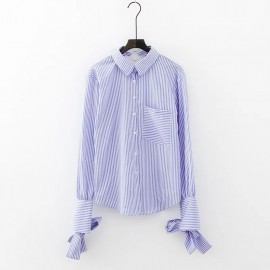 Stripe Shirt with Ribbon Detail