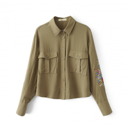 Military Shirt with Embroidery