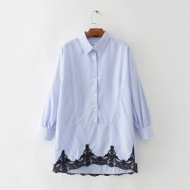 Stripe Shirt with Lace Hem