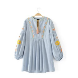 Embroidered Babydoll Tunic