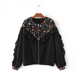 Embroidered Jacket with Ruffles