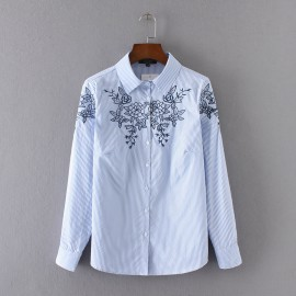 Embroidery Stripe Shirt