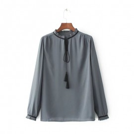 Blouse with Frill Neckline