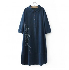 LM+ Denim Embroidered Dress