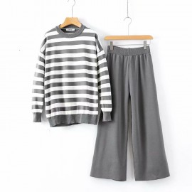 LM+ Knit Stripe Top and Pants Set