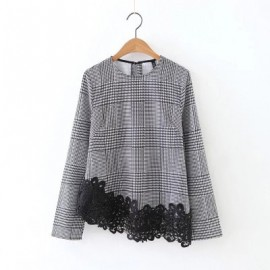 Gingham Blouse with Assymetrical Lace Hem