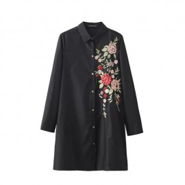 Long Floral Embroidered Shirt