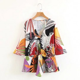 Tropical Motif Blouse