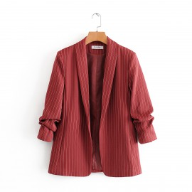 Stripe Blazer with Ruched Sleeves