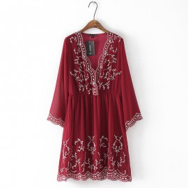 Embroidery Chiffon Dress