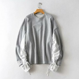 Pullover with Contrast Sleeves