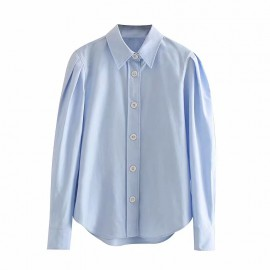 Shirt with Pleated Sleeves