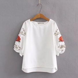 LM+ Floral Sleeve Blouse