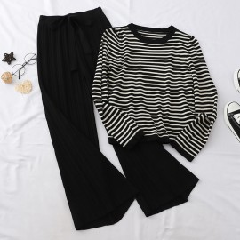 Stripe Knit Top and Pants Set