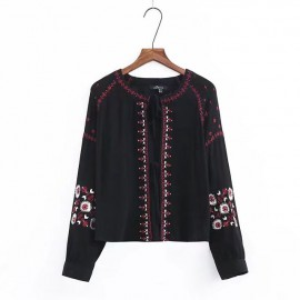 Embroidery Lace-Up Cardigan