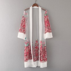 Sheer Embroidery Cardigan